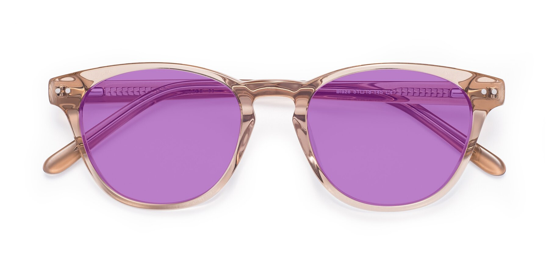 Folded Front of Blaze in light Brown with Medium Purple Tinted Lenses