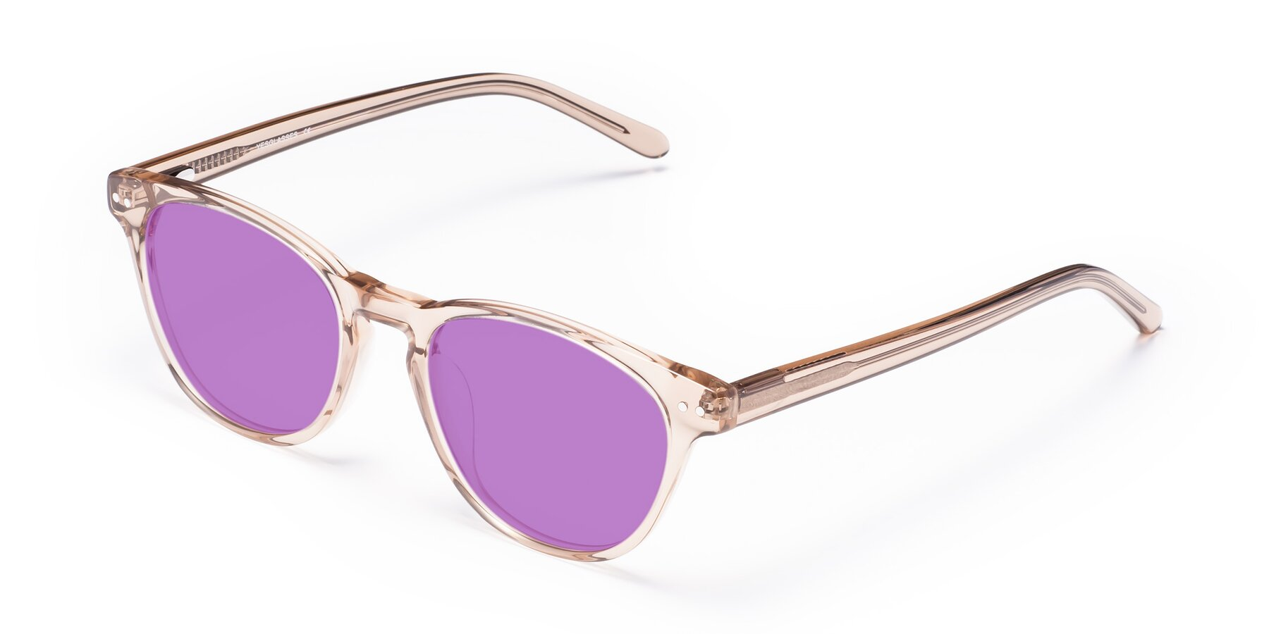 Angle of Blaze in light Brown with Medium Purple Tinted Lenses