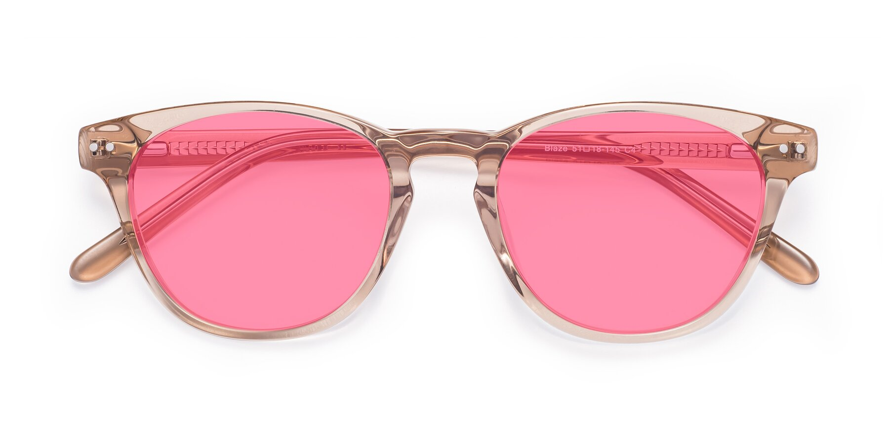 Folded Front of Blaze in light Brown with Pink Tinted Lenses
