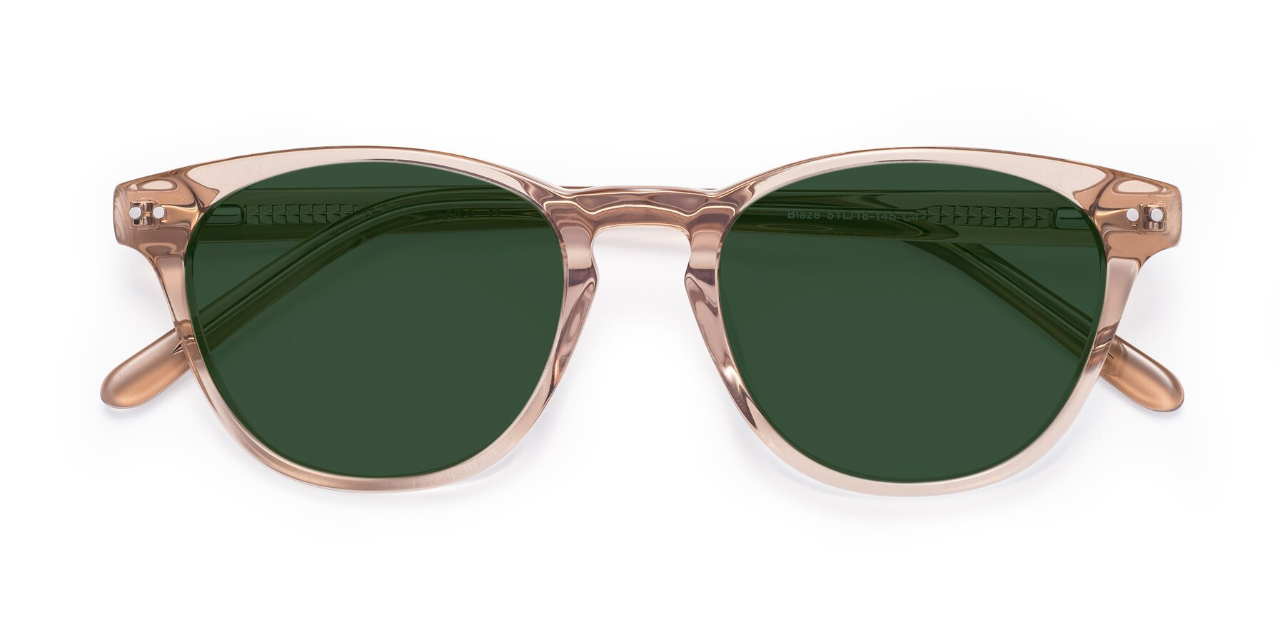 Folded Front of Blaze in light Brown with Green Tinted Lenses