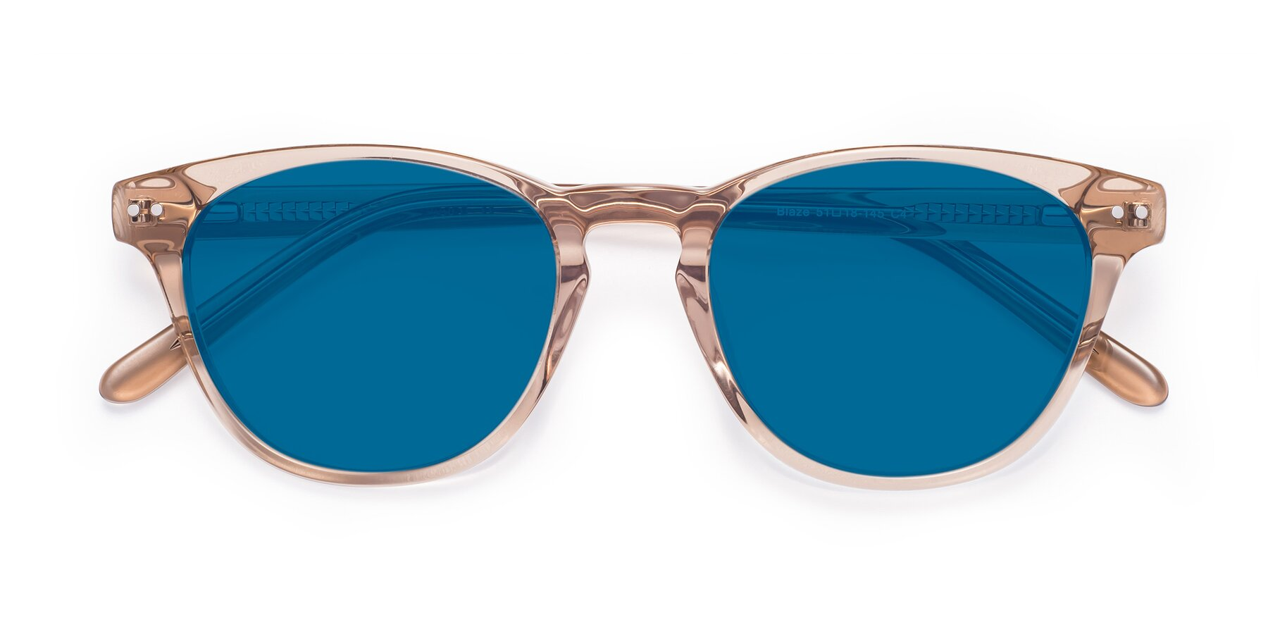 Folded Front of Blaze in light Brown with Blue Tinted Lenses