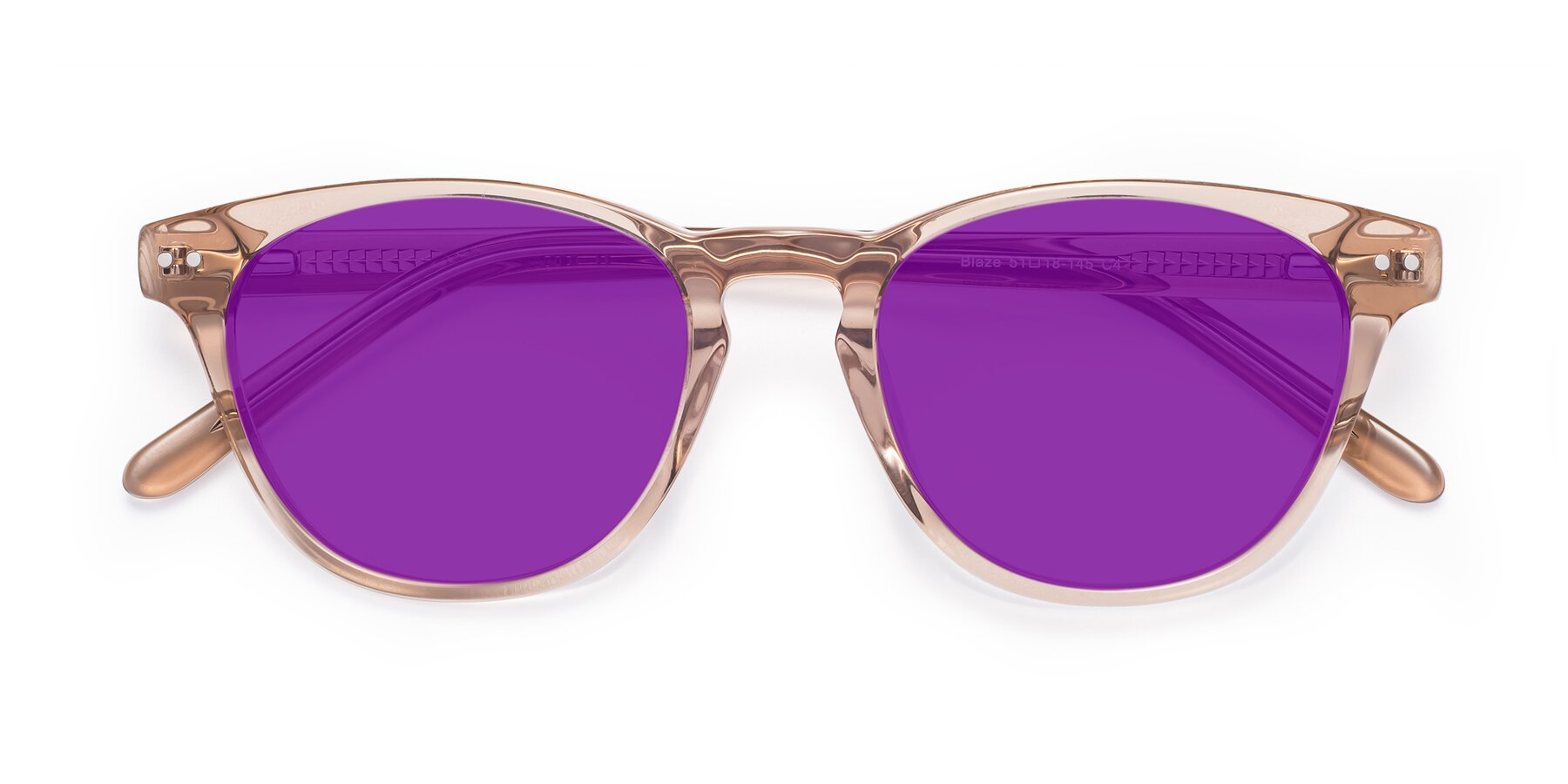 Folded Front of Blaze in light Brown with Purple Tinted Lenses