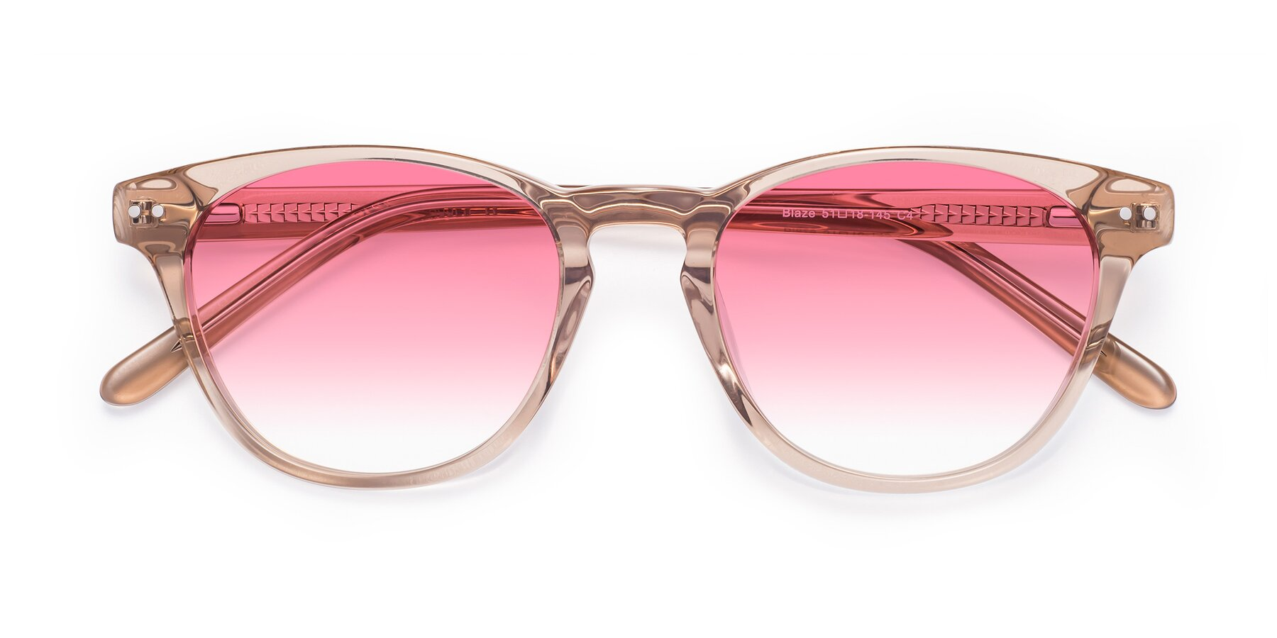 Folded Front of Blaze in light Brown with Pink Gradient Lenses
