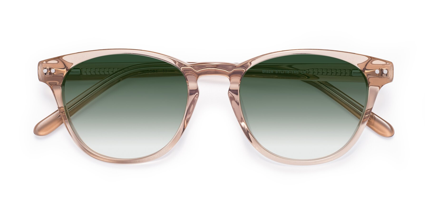 Folded Front of Blaze in light Brown with Green Gradient Lenses