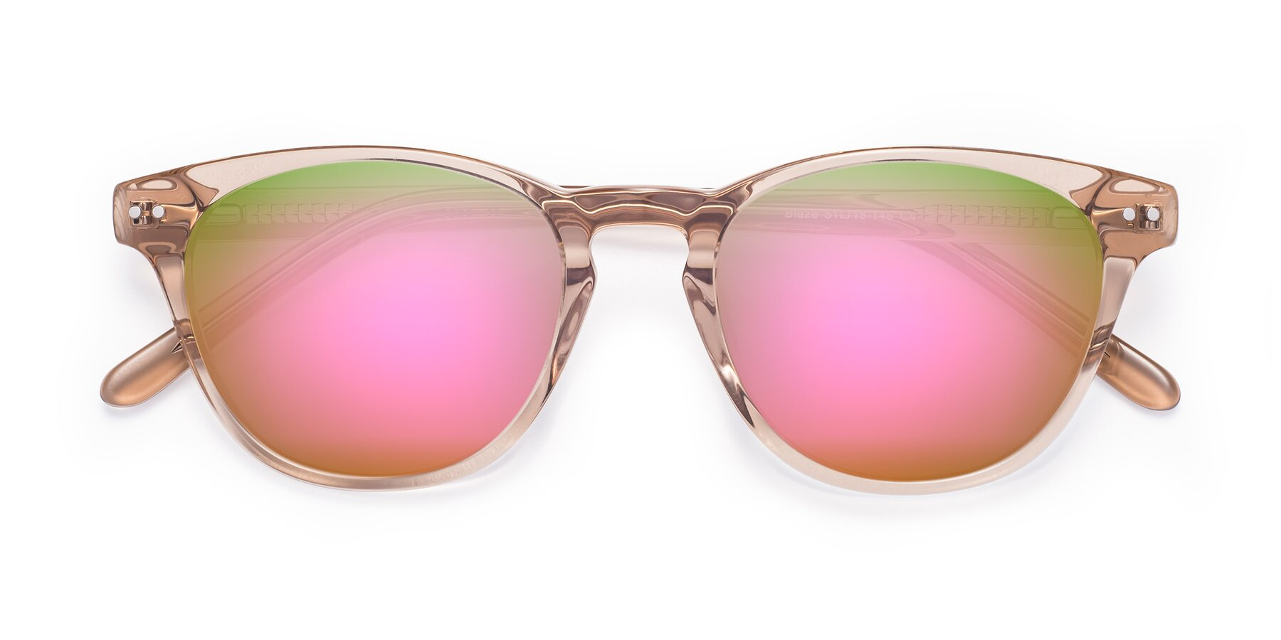 Folded Front of Blaze in light Brown with Pink Mirrored Lenses