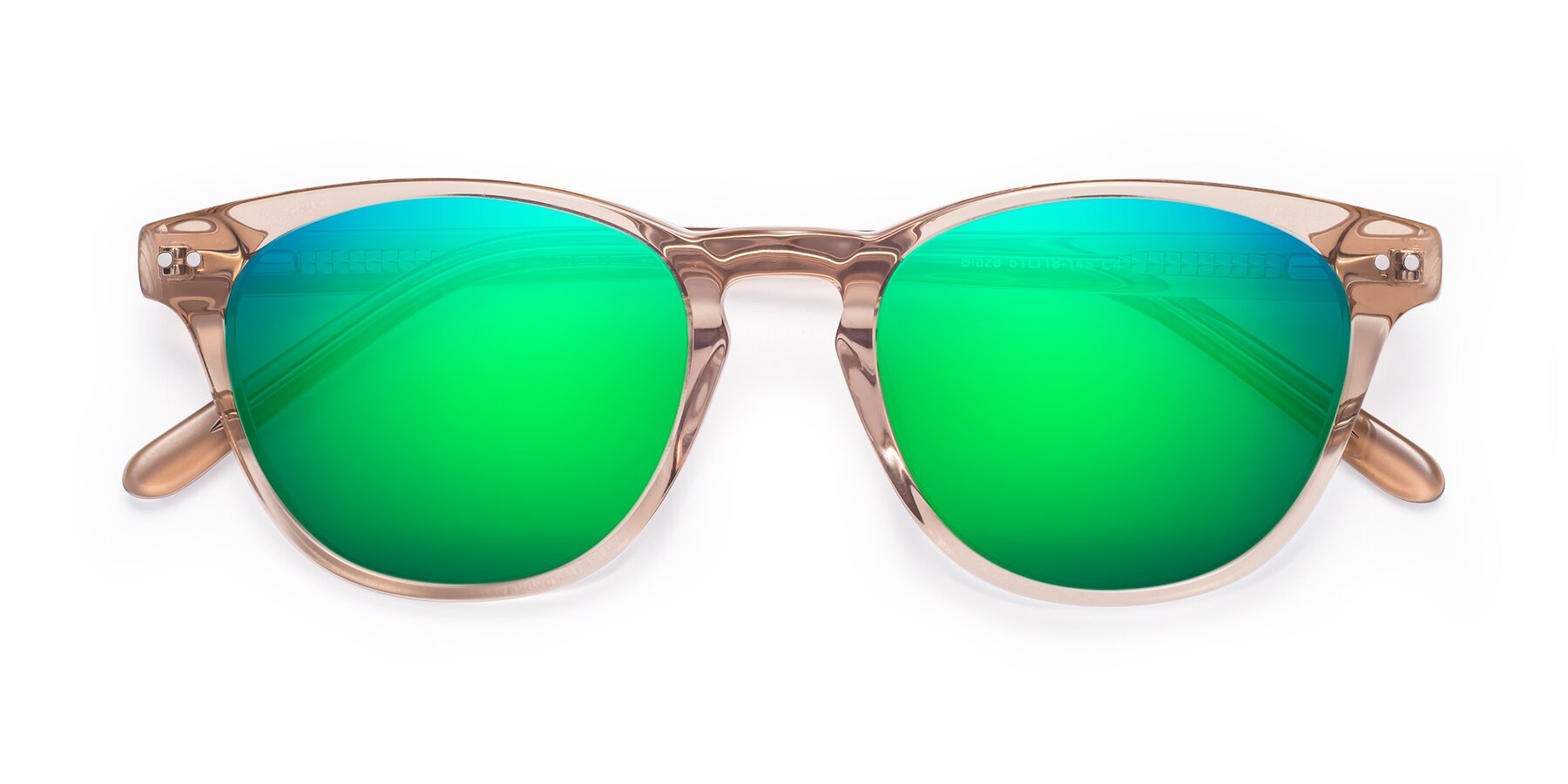 Folded Front of Blaze in light Brown with Green Mirrored Lenses