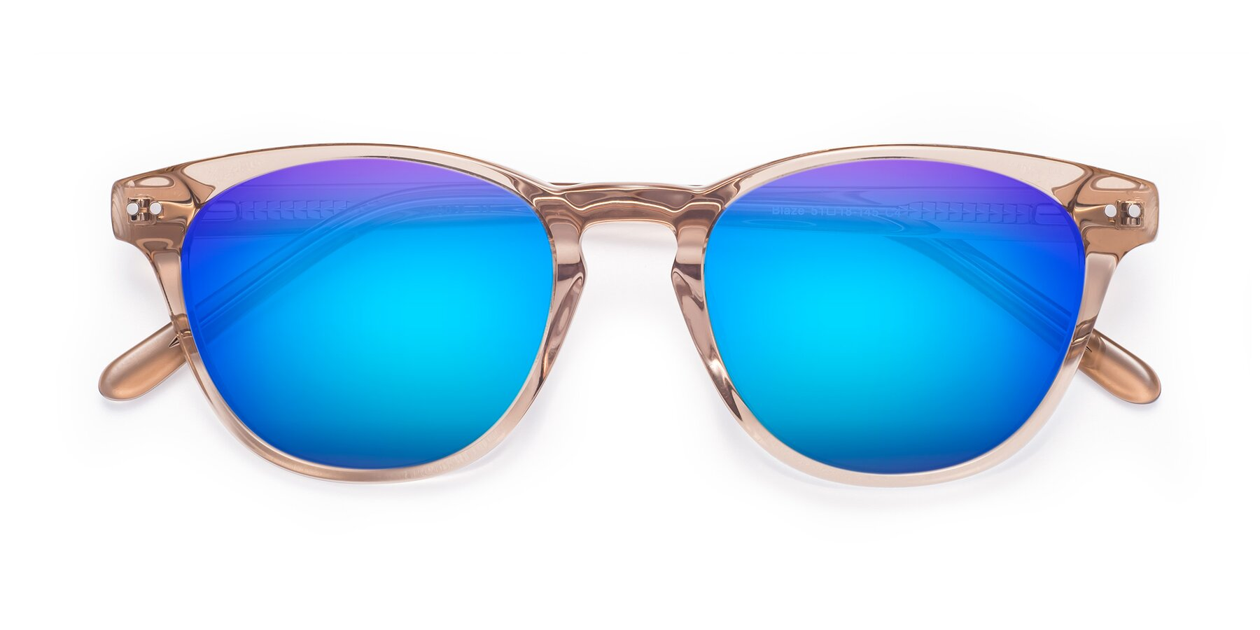 Folded Front of Blaze in light Brown with Blue Mirrored Lenses