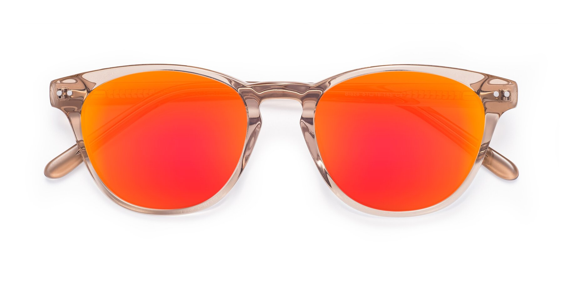 Folded Front of Blaze in light Brown with Red Gold Mirrored Lenses