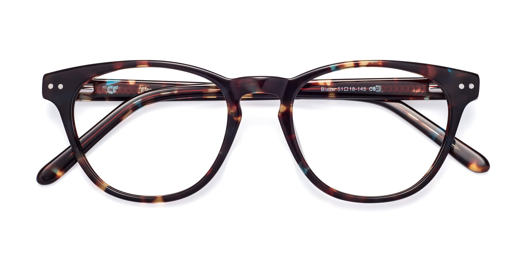 Folded Front of Blaze in Tortoise-Blue with Clear Eyeglass Lenses