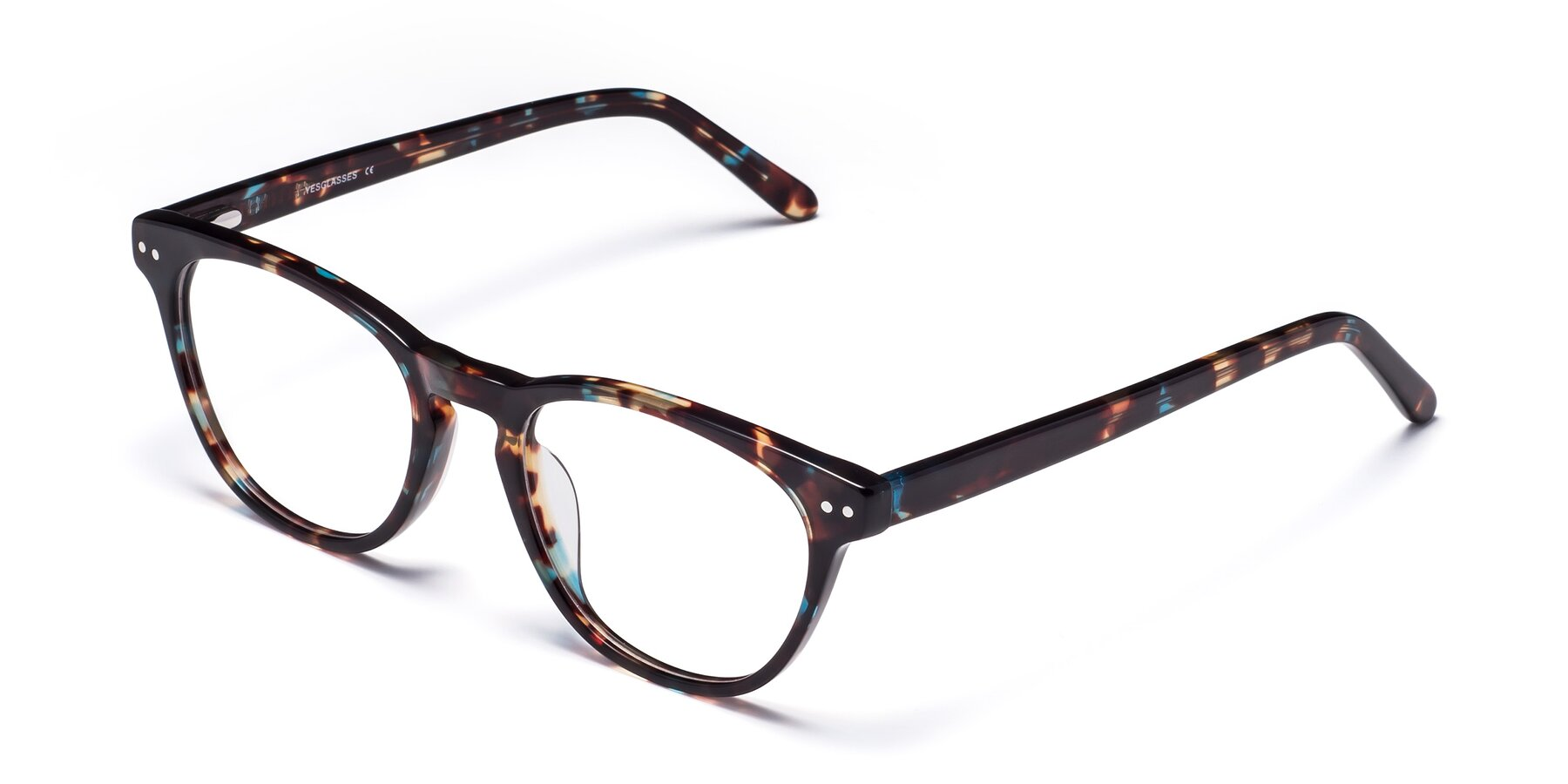 Angle of Blaze in Tortoise-Blue with Clear Eyeglass Lenses