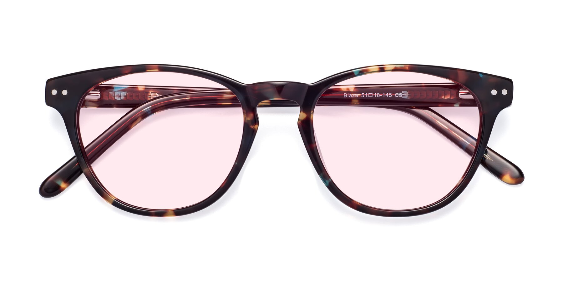 Folded Front of Blaze in Tortoise-Blue with Light Pink Tinted Lenses