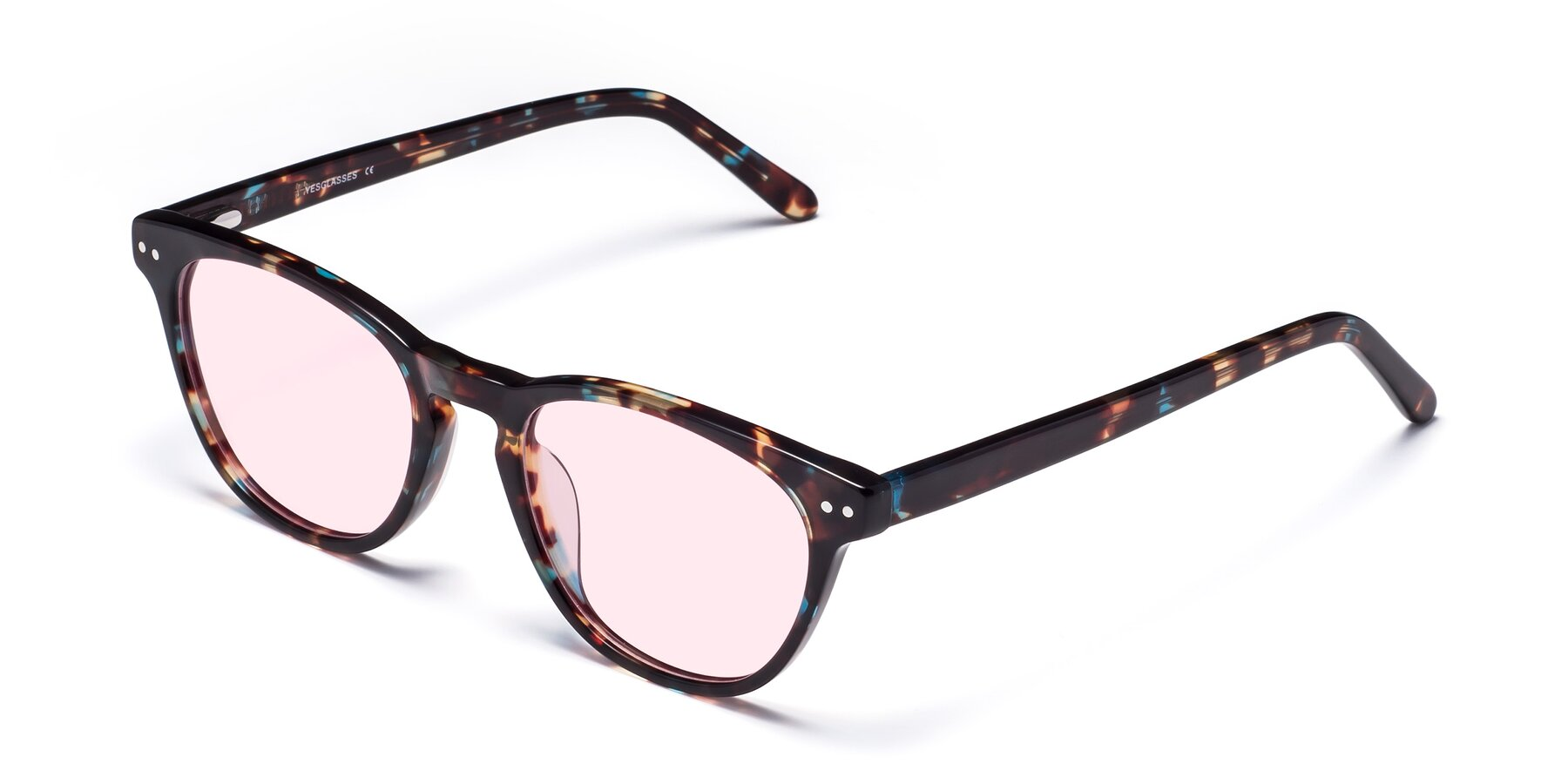 Angle of Blaze in Tortoise-Blue with Light Pink Tinted Lenses