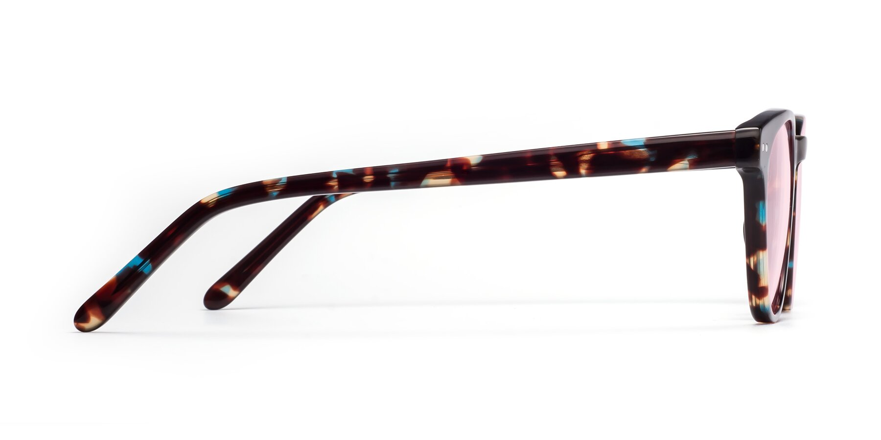 Side of Blaze in Tortoise-Blue with Light Pink Tinted Lenses