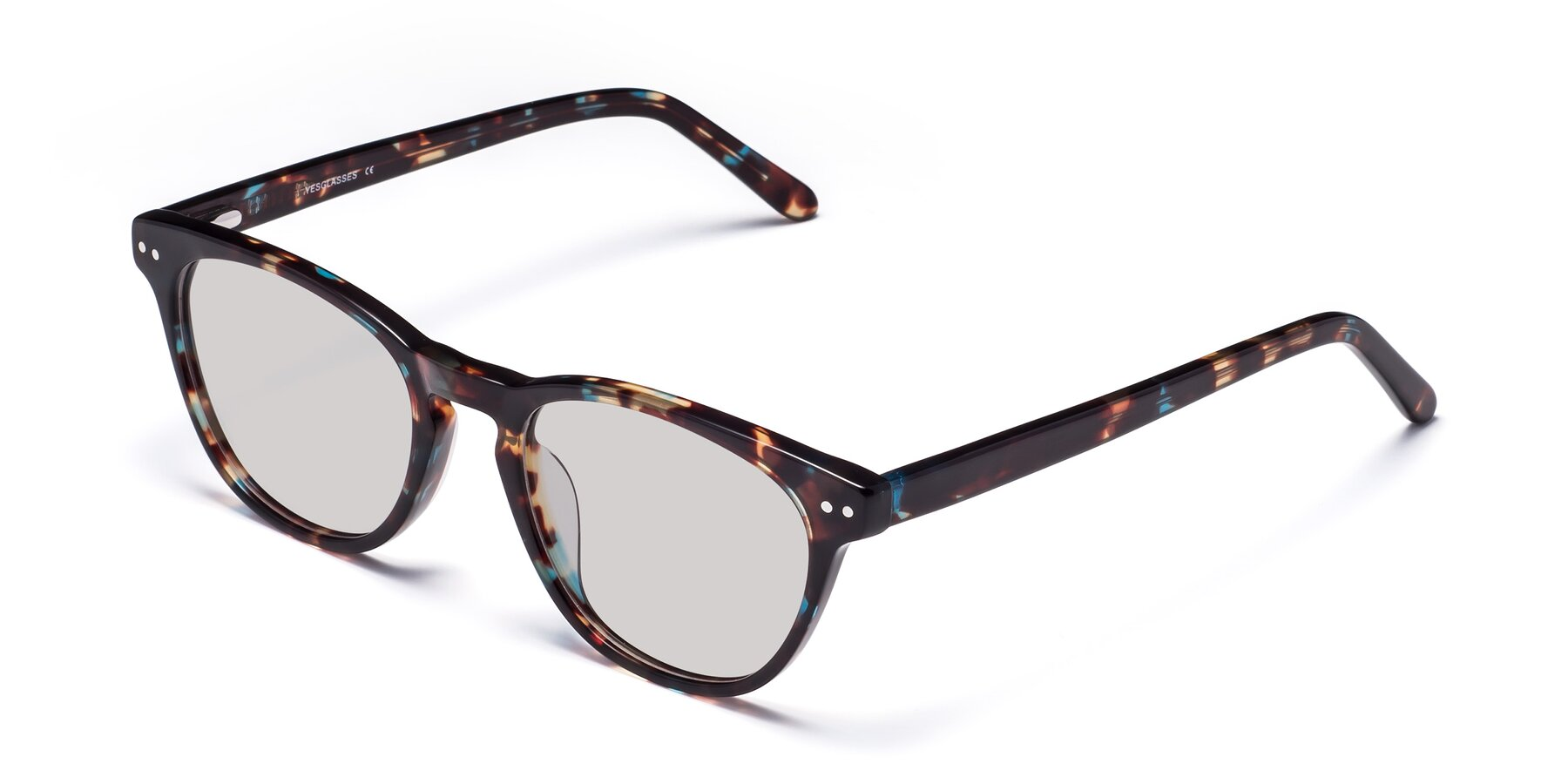 Angle of Blaze in Tortoise-Blue with Light Gray Tinted Lenses