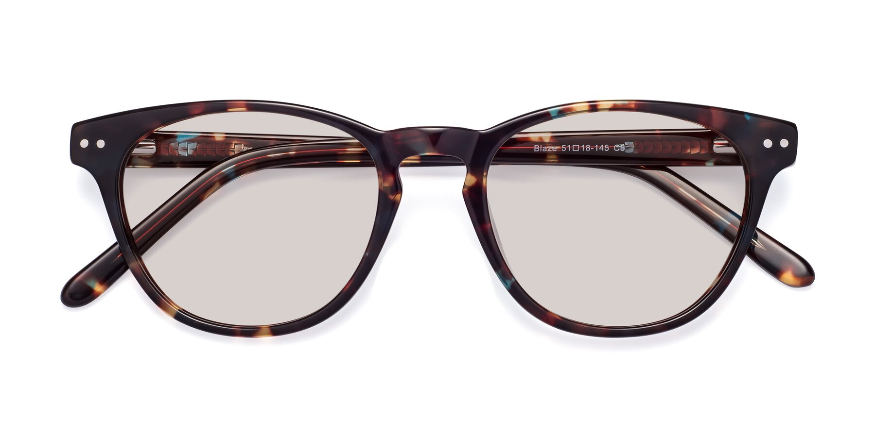 Folded Front of Blaze in Tortoise-Blue with Light Brown Tinted Lenses