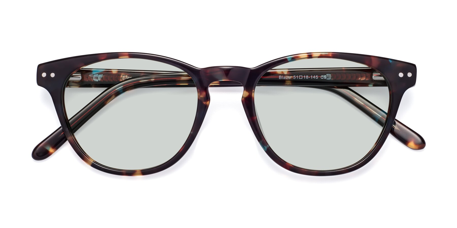 Folded Front of Blaze in Tortoise-Blue with Light Green Tinted Lenses