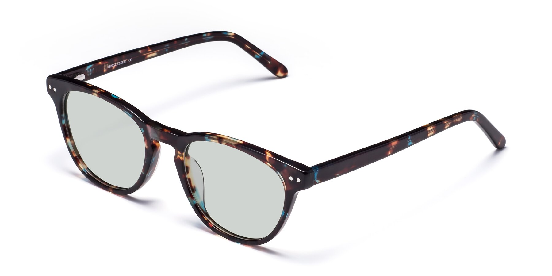 Angle of Blaze in Tortoise-Blue with Light Green Tinted Lenses