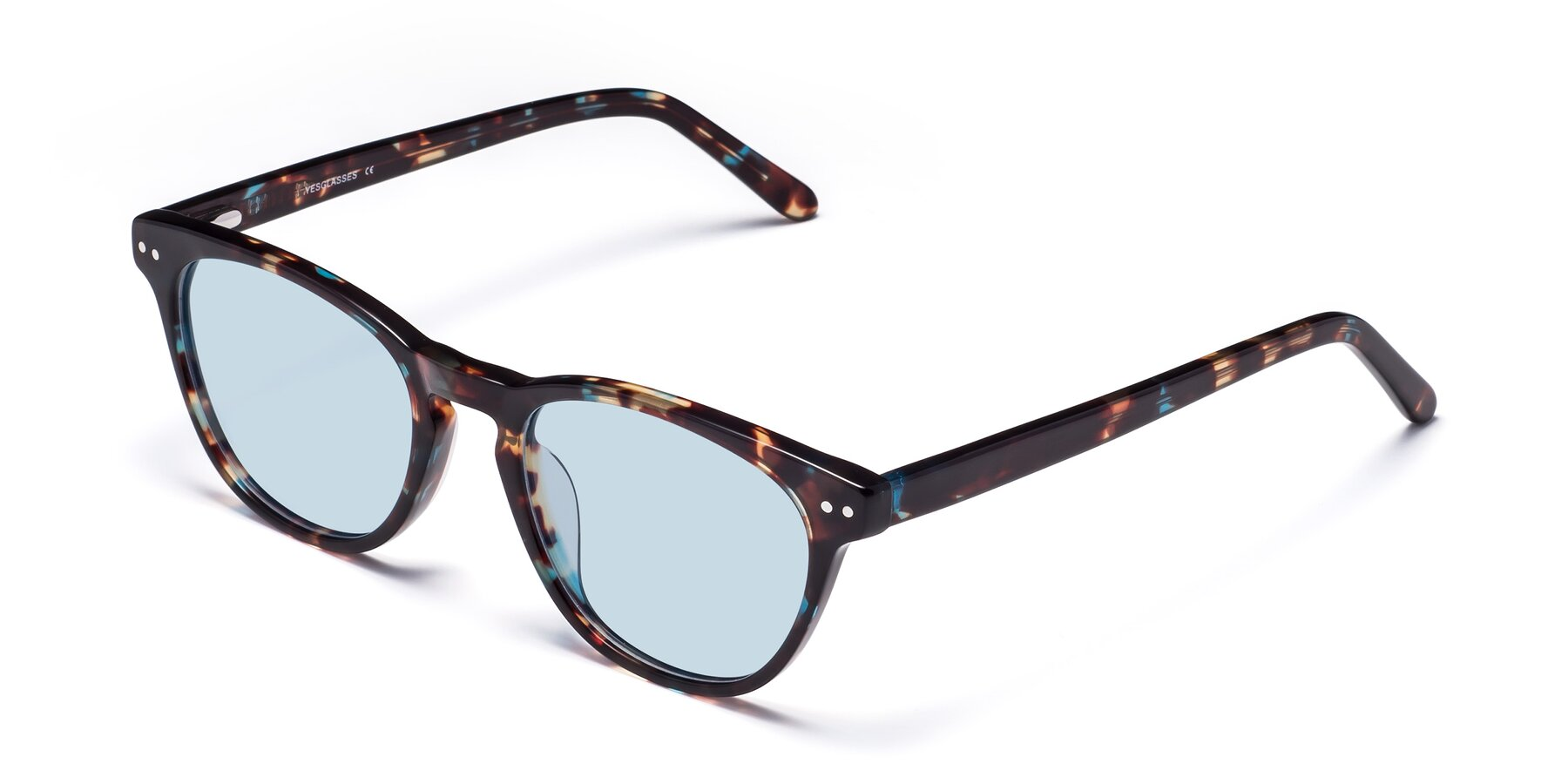 Angle of Blaze in Tortoise-Blue with Light Blue Tinted Lenses