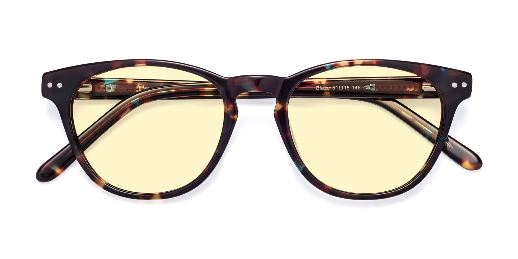 Folded Front of Blaze in Tortoise-Blue with Light Yellow Tinted Lenses