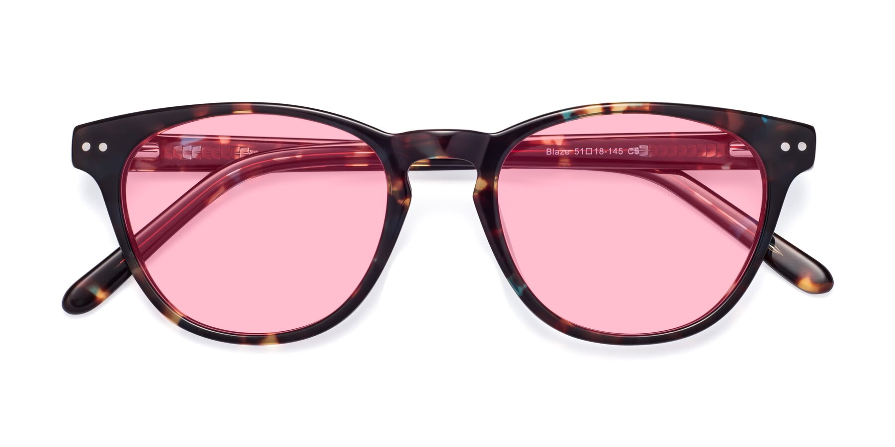 Folded Front of Blaze in Tortoise-Blue with Medium Pink Tinted Lenses