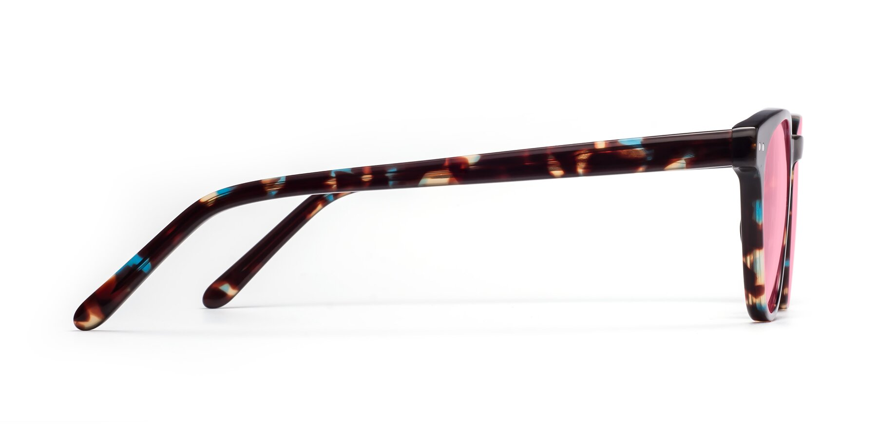 Side of Blaze in Tortoise-Blue with Medium Pink Tinted Lenses