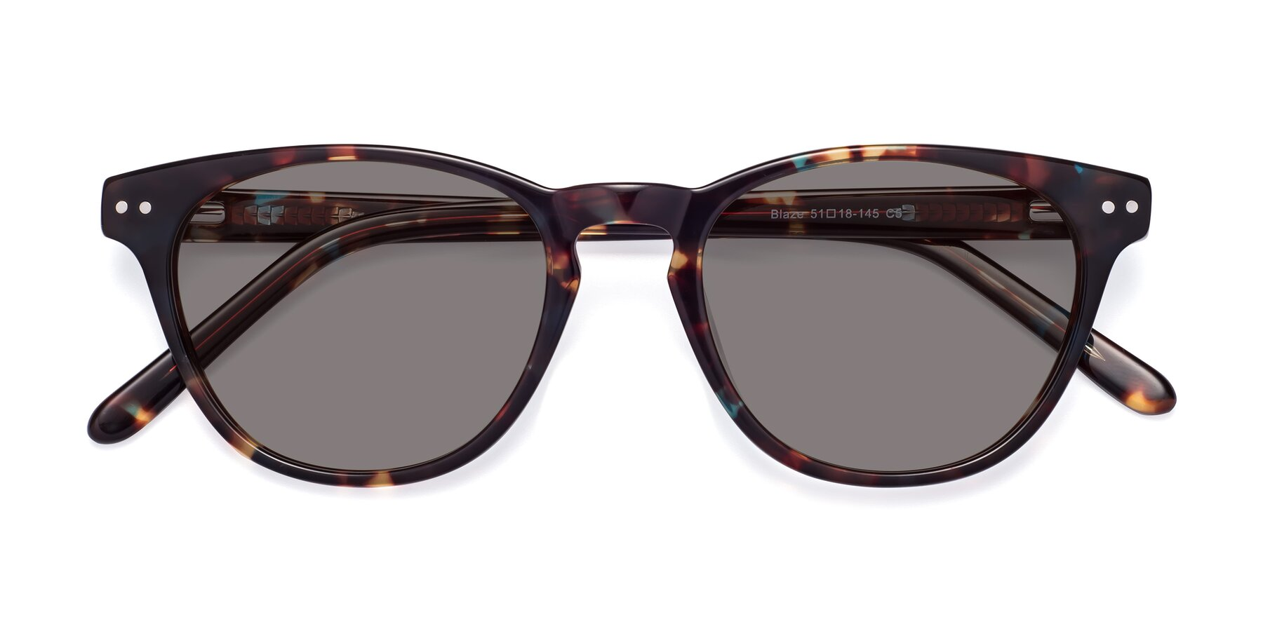 Folded Front of Blaze in Tortoise-Blue with Medium Gray Tinted Lenses