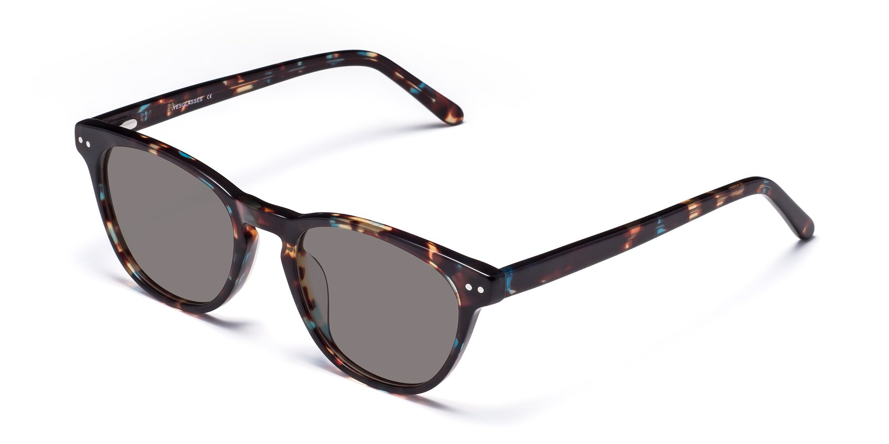Angle of Blaze in Tortoise-Blue with Medium Gray Tinted Lenses