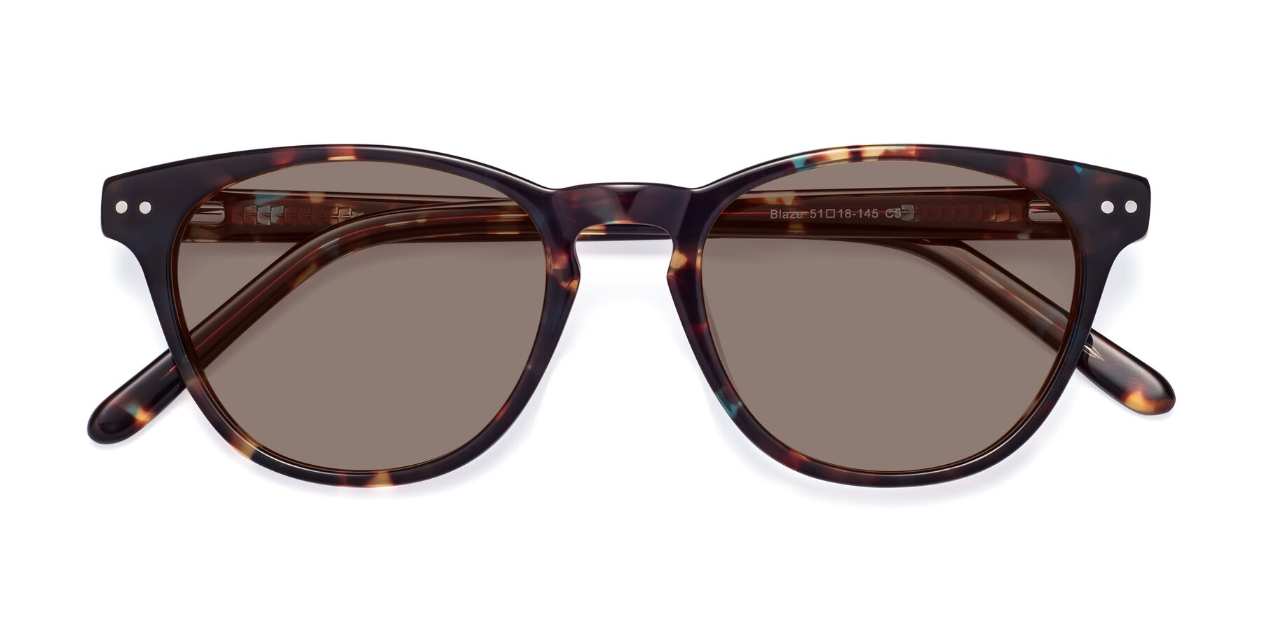 Folded Front of Blaze in Tortoise-Blue with Medium Brown Tinted Lenses