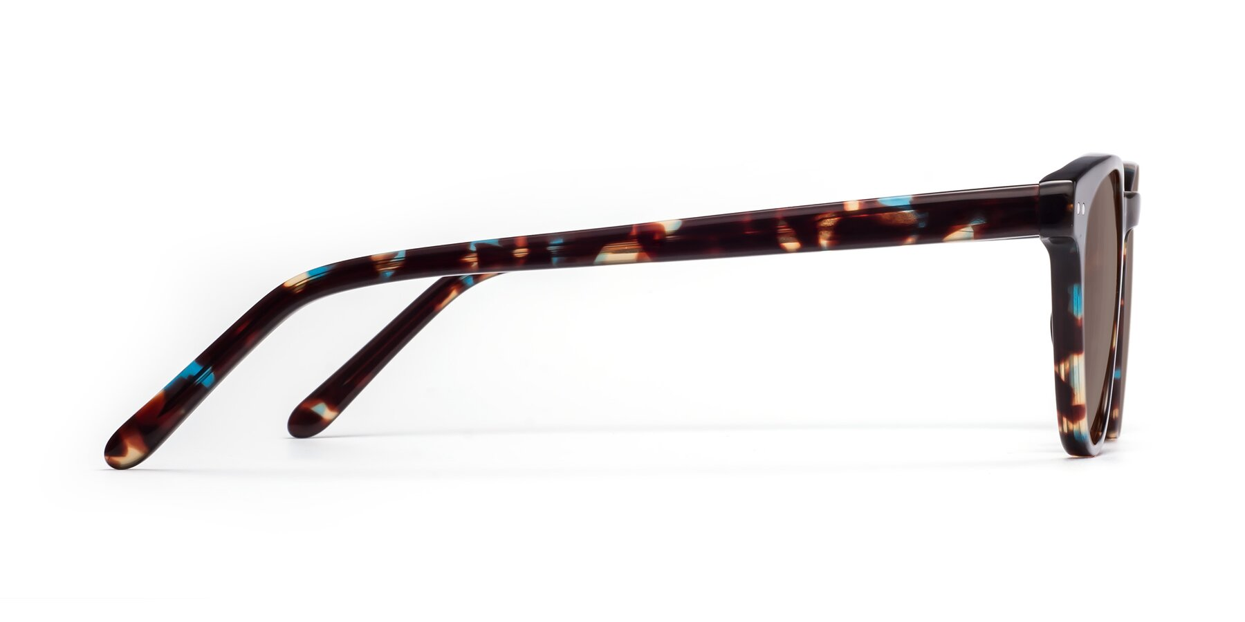 Side of Blaze in Tortoise-Blue with Medium Brown Tinted Lenses