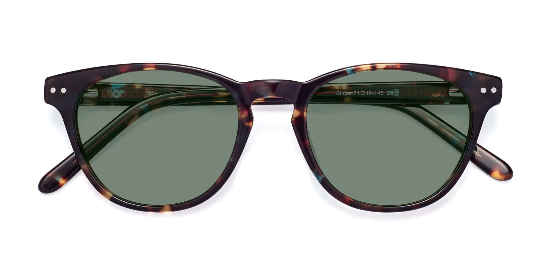 Folded Front of Blaze in Tortoise-Blue with Medium Green Tinted Lenses