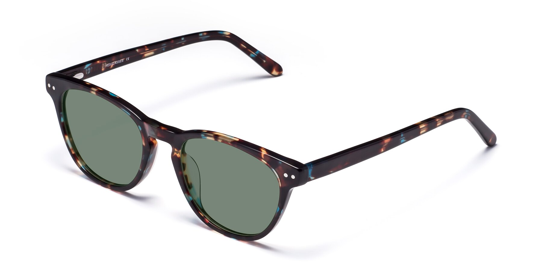 Angle of Blaze in Tortoise-Blue with Medium Green Tinted Lenses