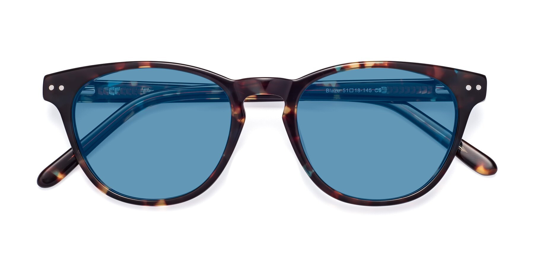 Folded Front of Blaze in Tortoise-Blue with Medium Blue Tinted Lenses