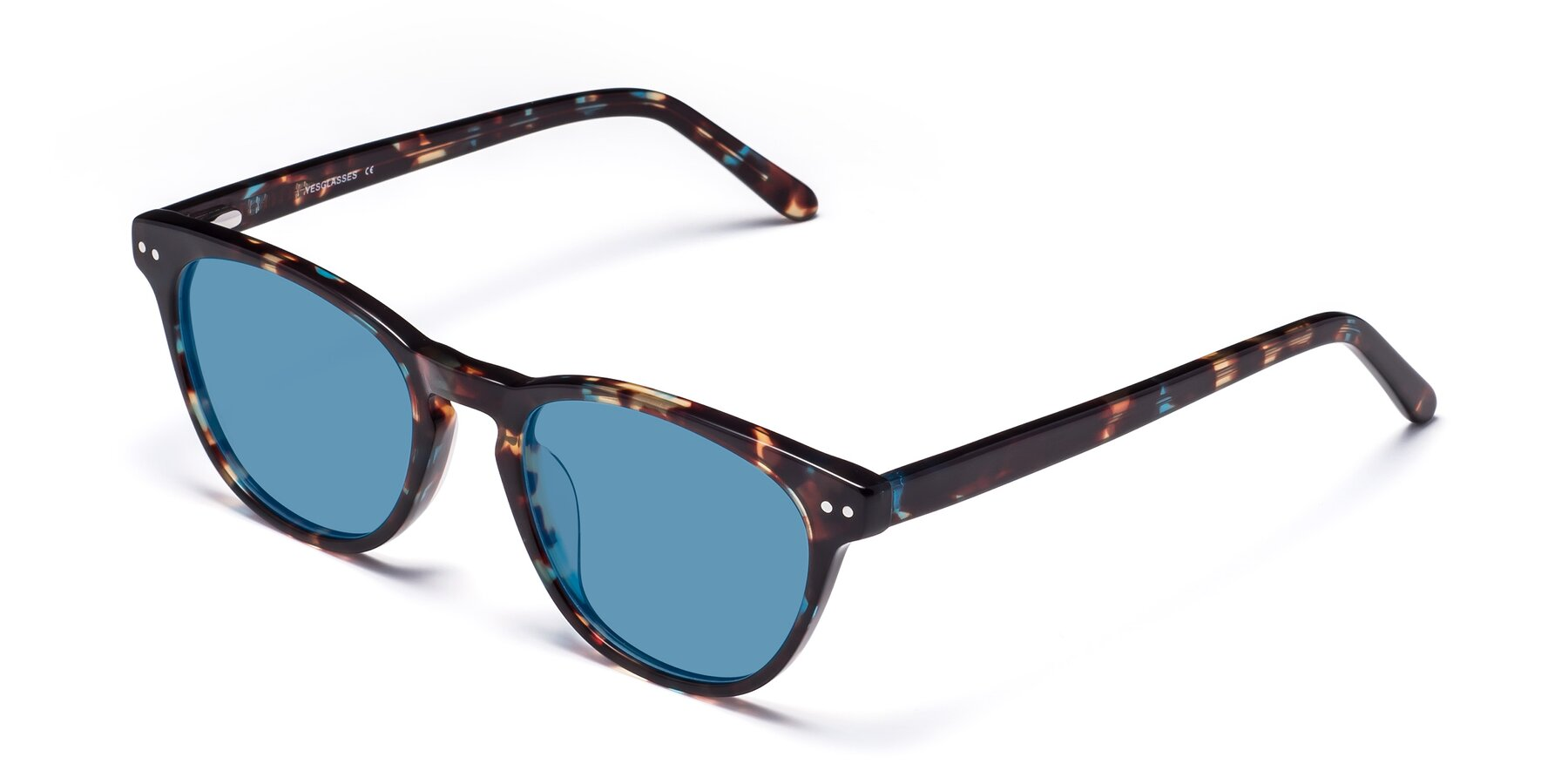 Angle of Blaze in Tortoise-Blue with Medium Blue Tinted Lenses