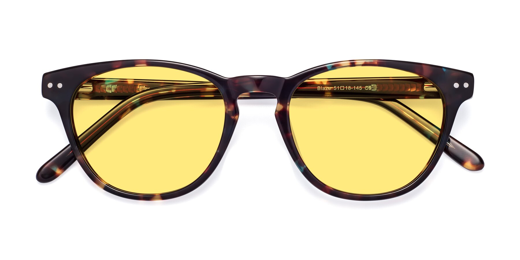 Folded Front of Blaze in Tortoise-Blue with Medium Yellow Tinted Lenses