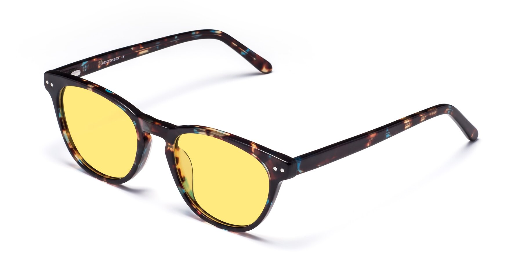 Angle of Blaze in Tortoise-Blue with Medium Yellow Tinted Lenses