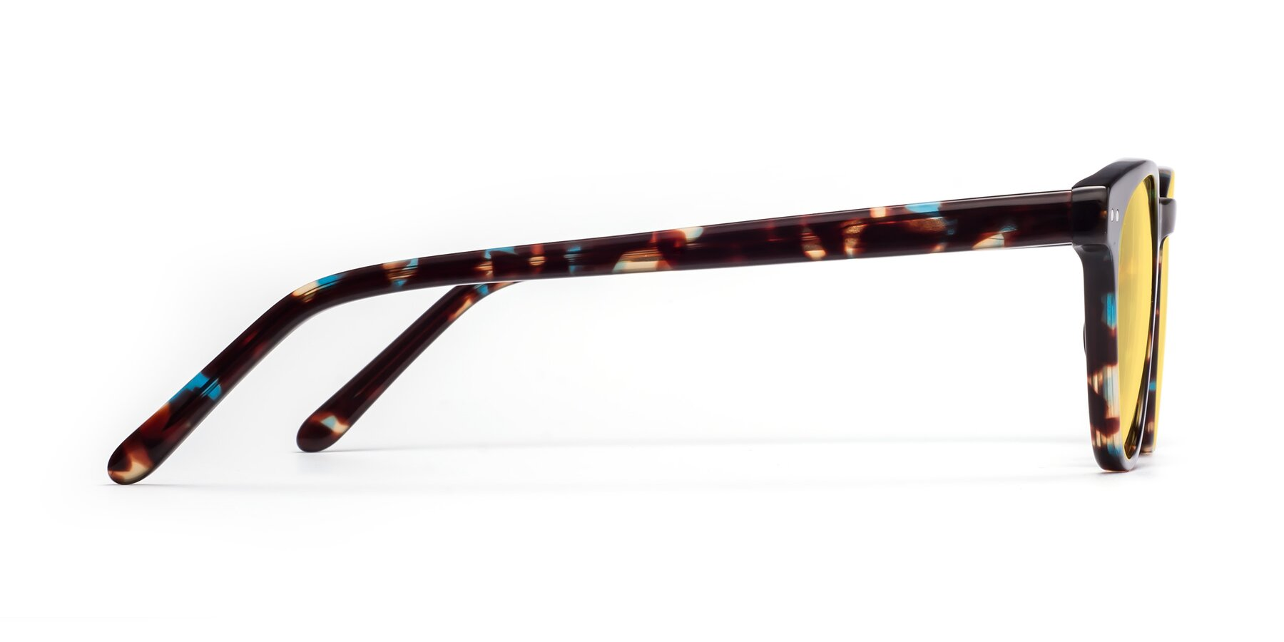 Side of Blaze in Tortoise-Blue with Medium Yellow Tinted Lenses