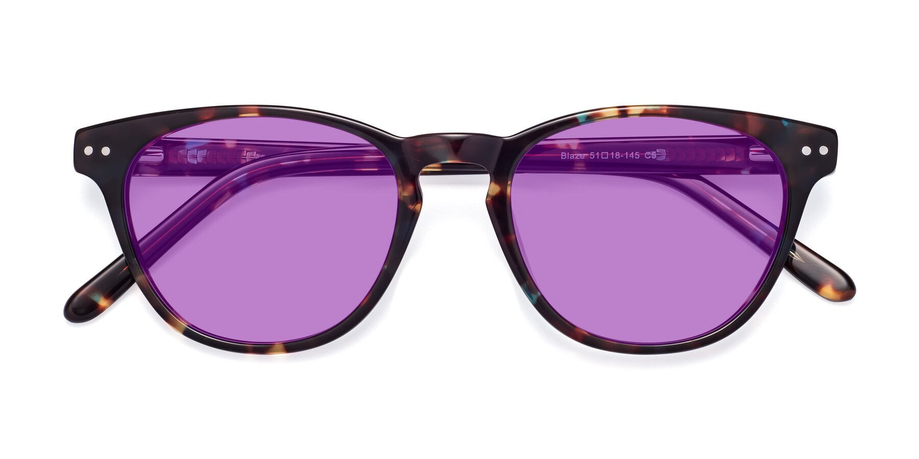 Folded Front of Blaze in Tortoise-Blue with Medium Purple Tinted Lenses