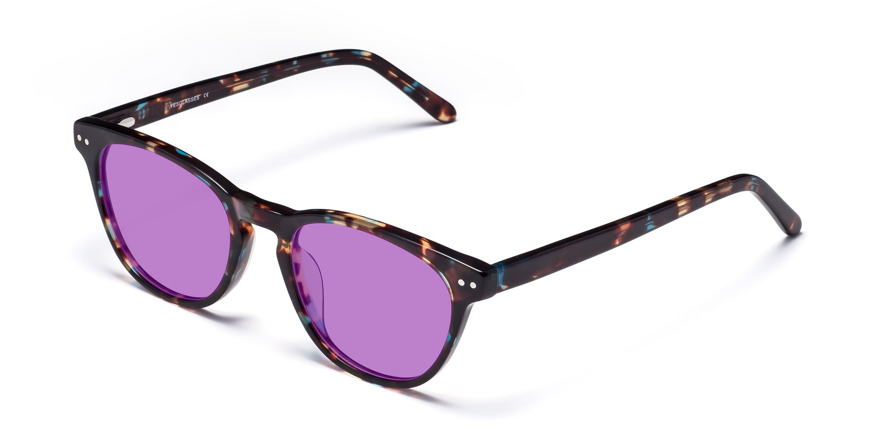 Angle of Blaze in Tortoise-Blue with Medium Purple Tinted Lenses