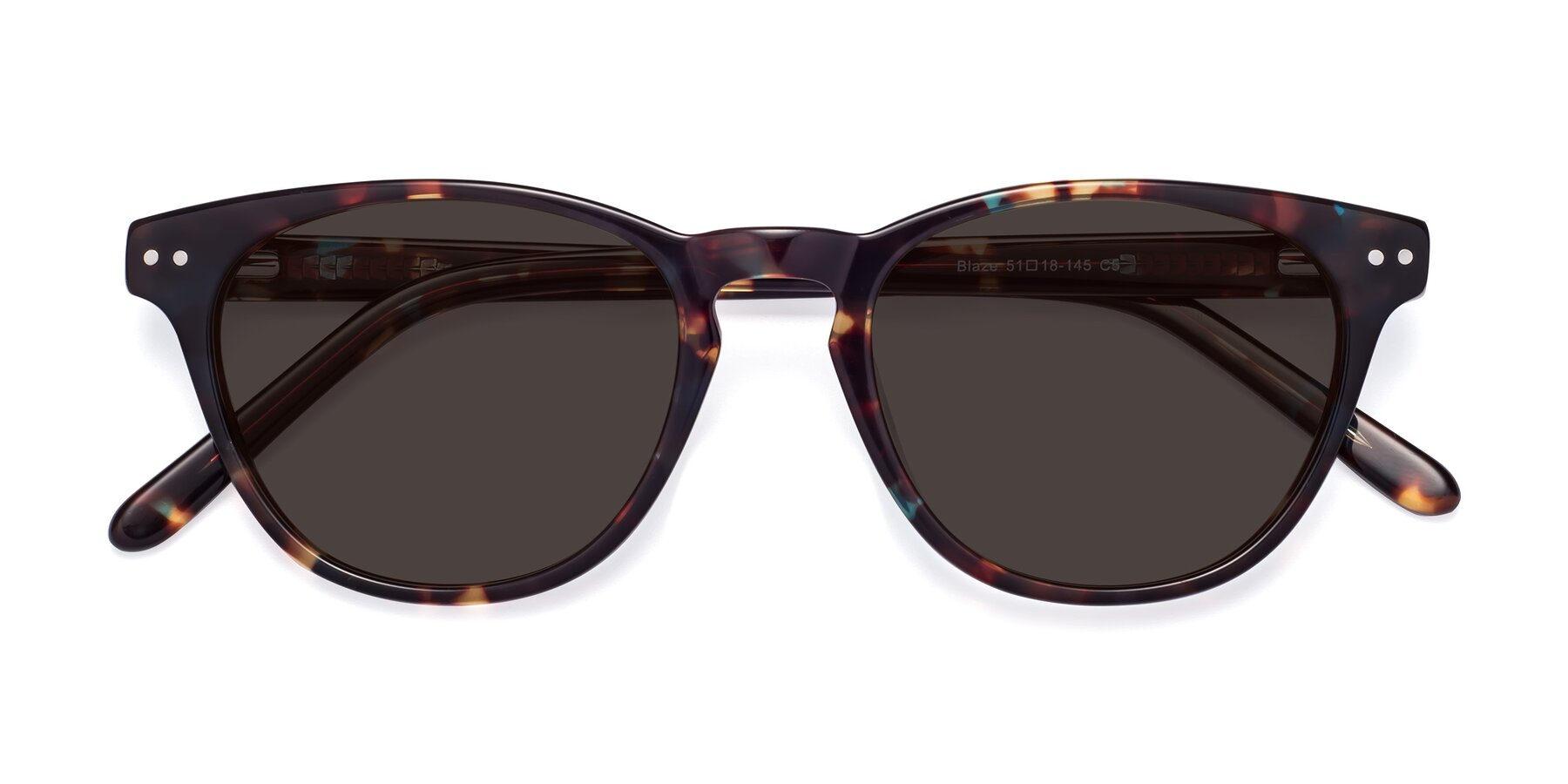 Folded Front of Blaze in Tortoise-Blue with Gray Tinted Lenses
