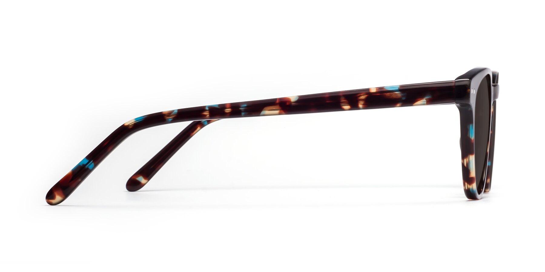 Side of Blaze in Tortoise-Blue with Gray Tinted Lenses
