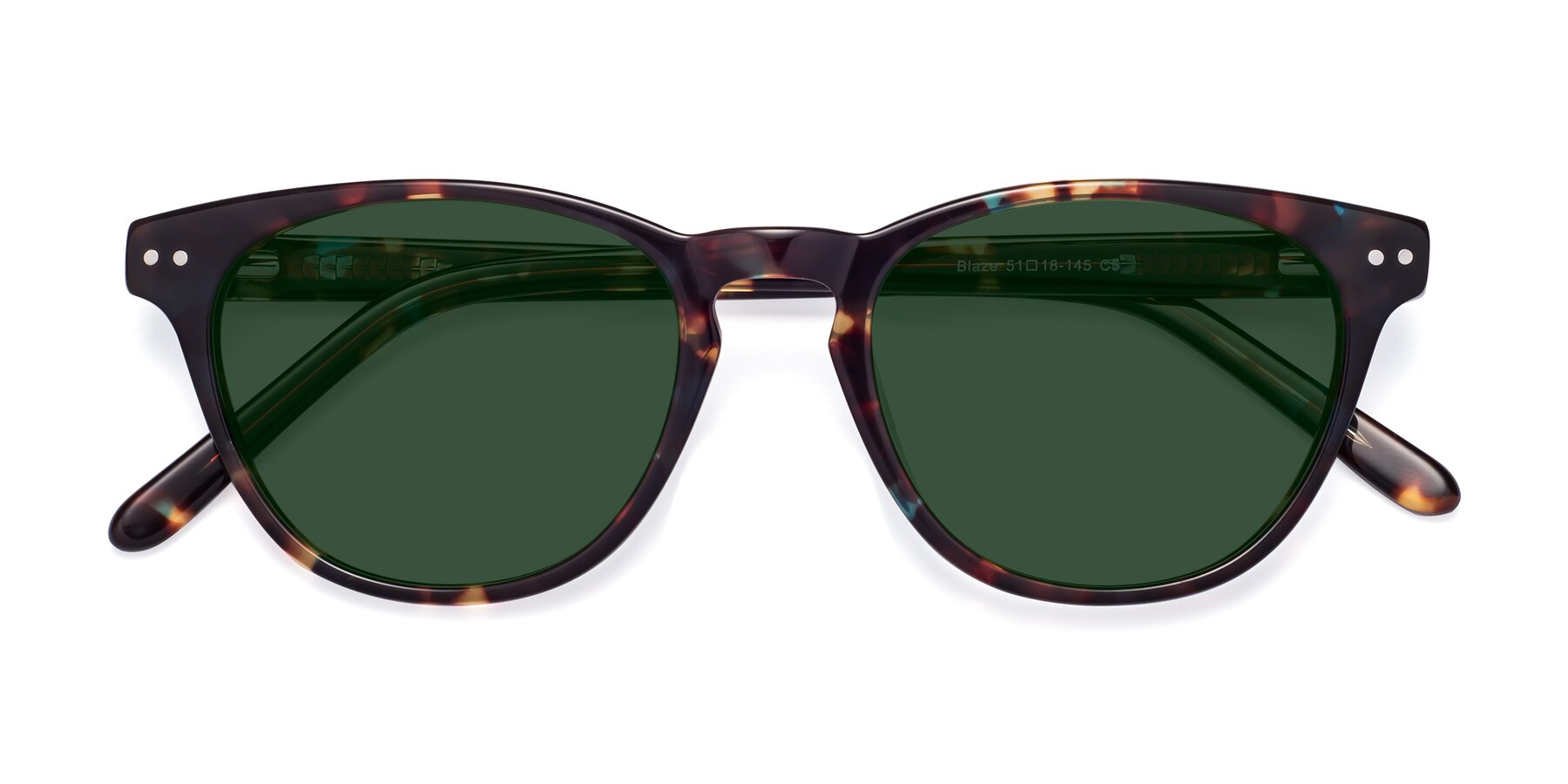 Folded Front of Blaze in Tortoise-Blue with Green Tinted Lenses