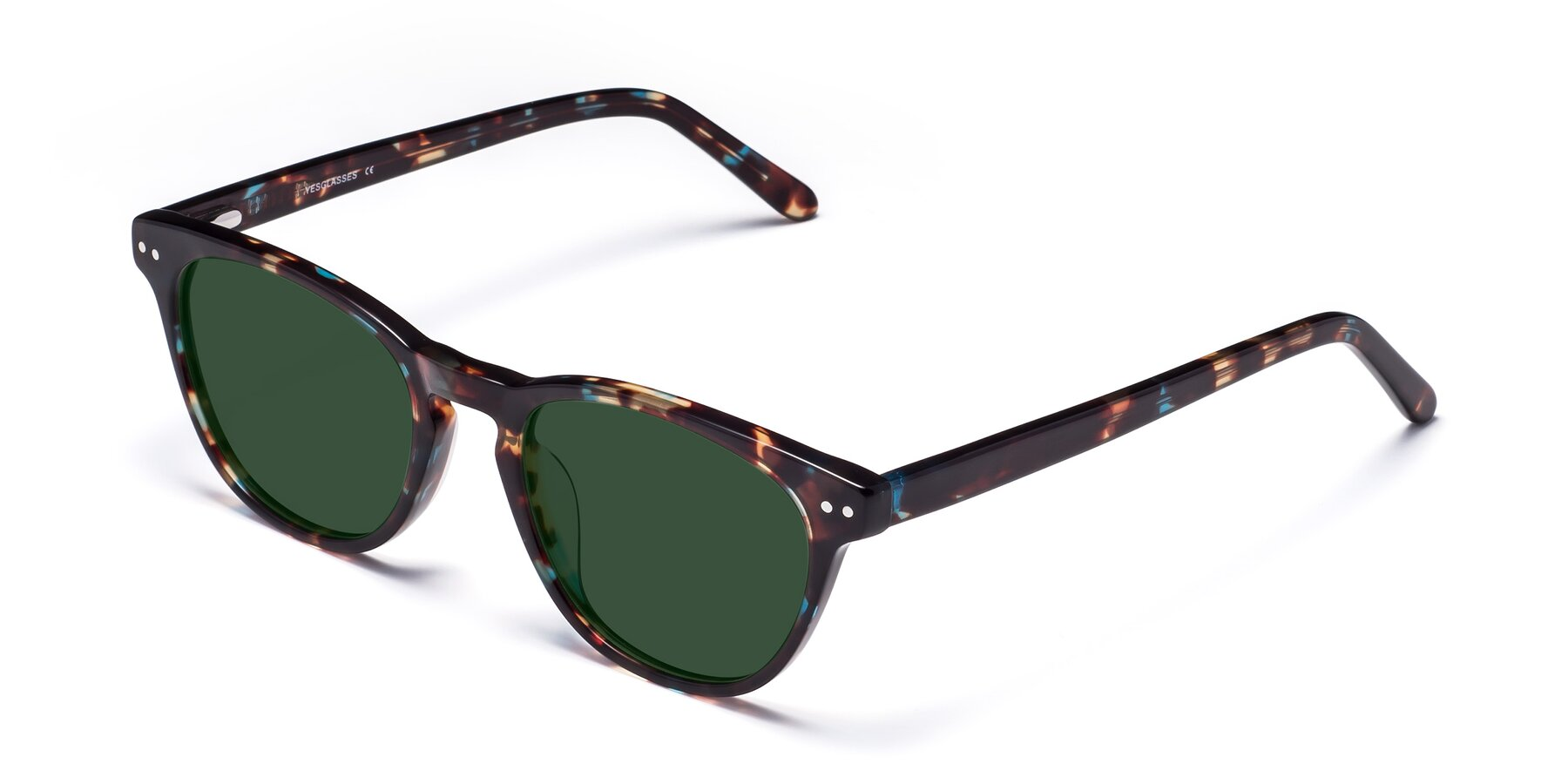 Angle of Blaze in Tortoise-Blue with Green Tinted Lenses