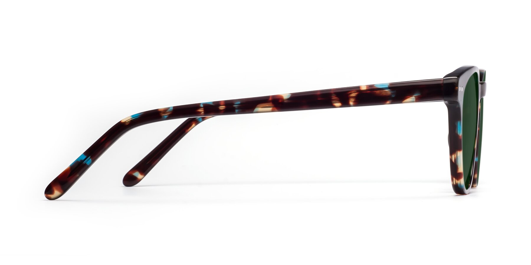Side of Blaze in Tortoise-Blue with Green Tinted Lenses