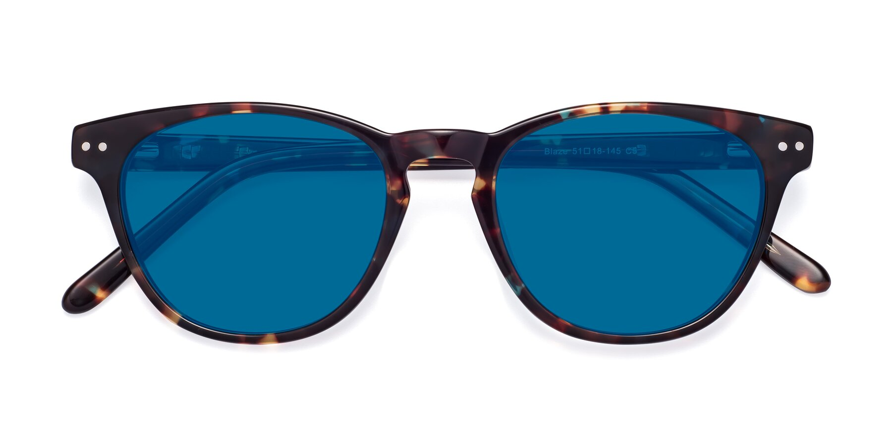 Folded Front of Blaze in Tortoise-Blue with Blue Tinted Lenses