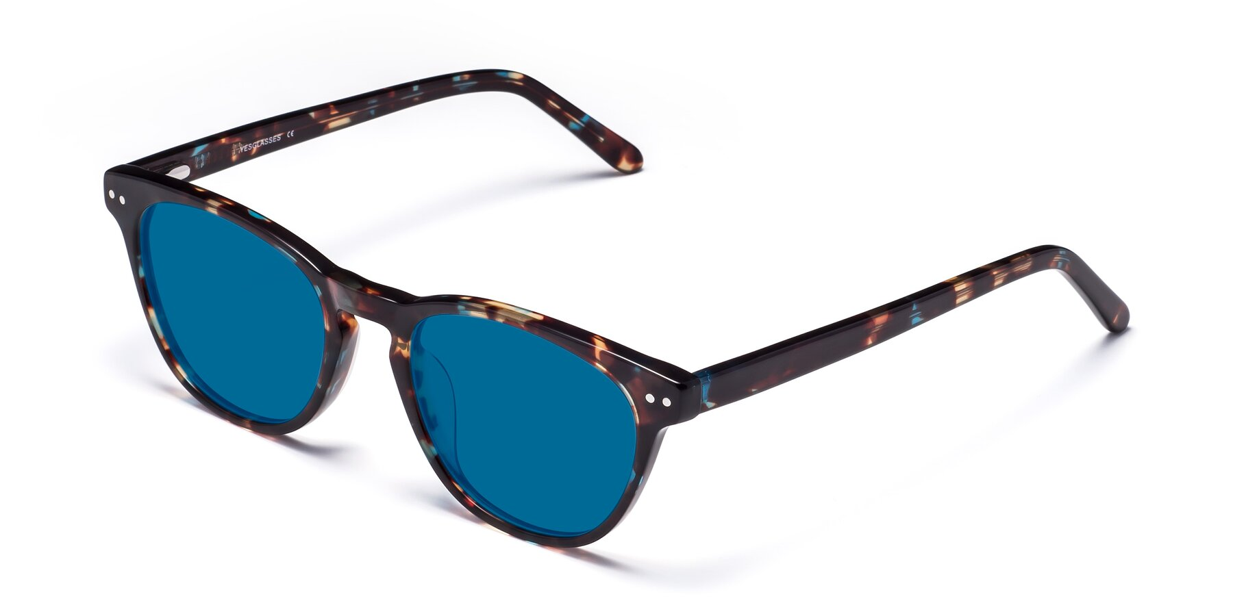 Angle of Blaze in Tortoise-Blue with Blue Tinted Lenses