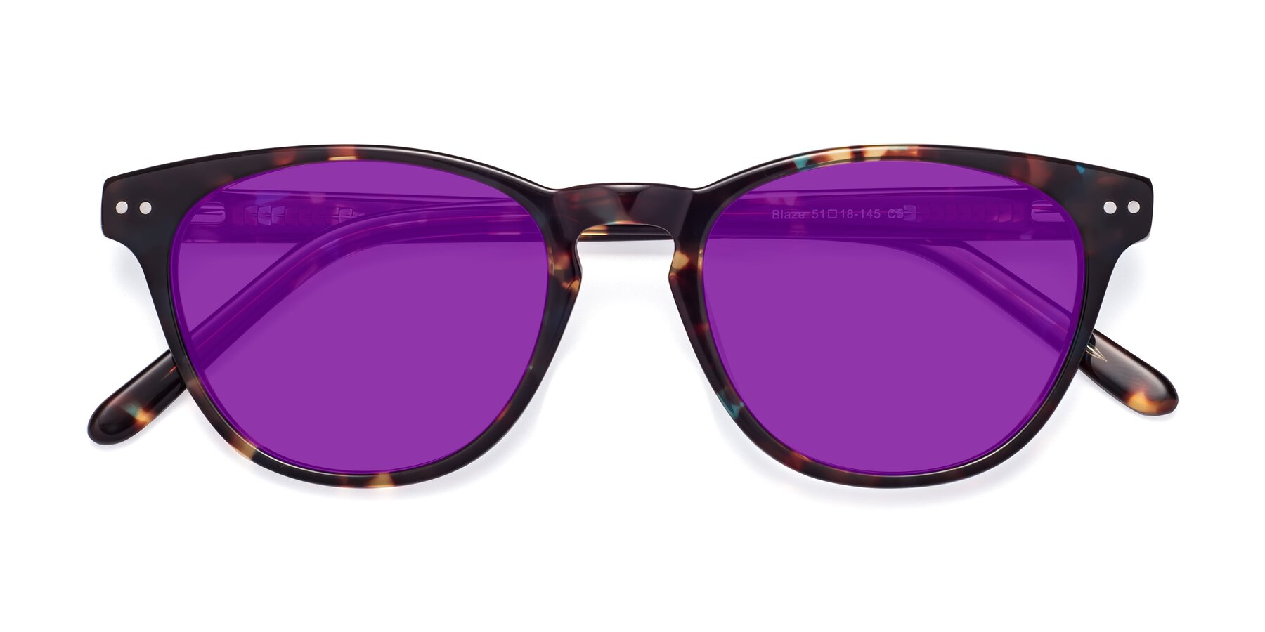 Folded Front of Blaze in Tortoise-Blue with Purple Tinted Lenses