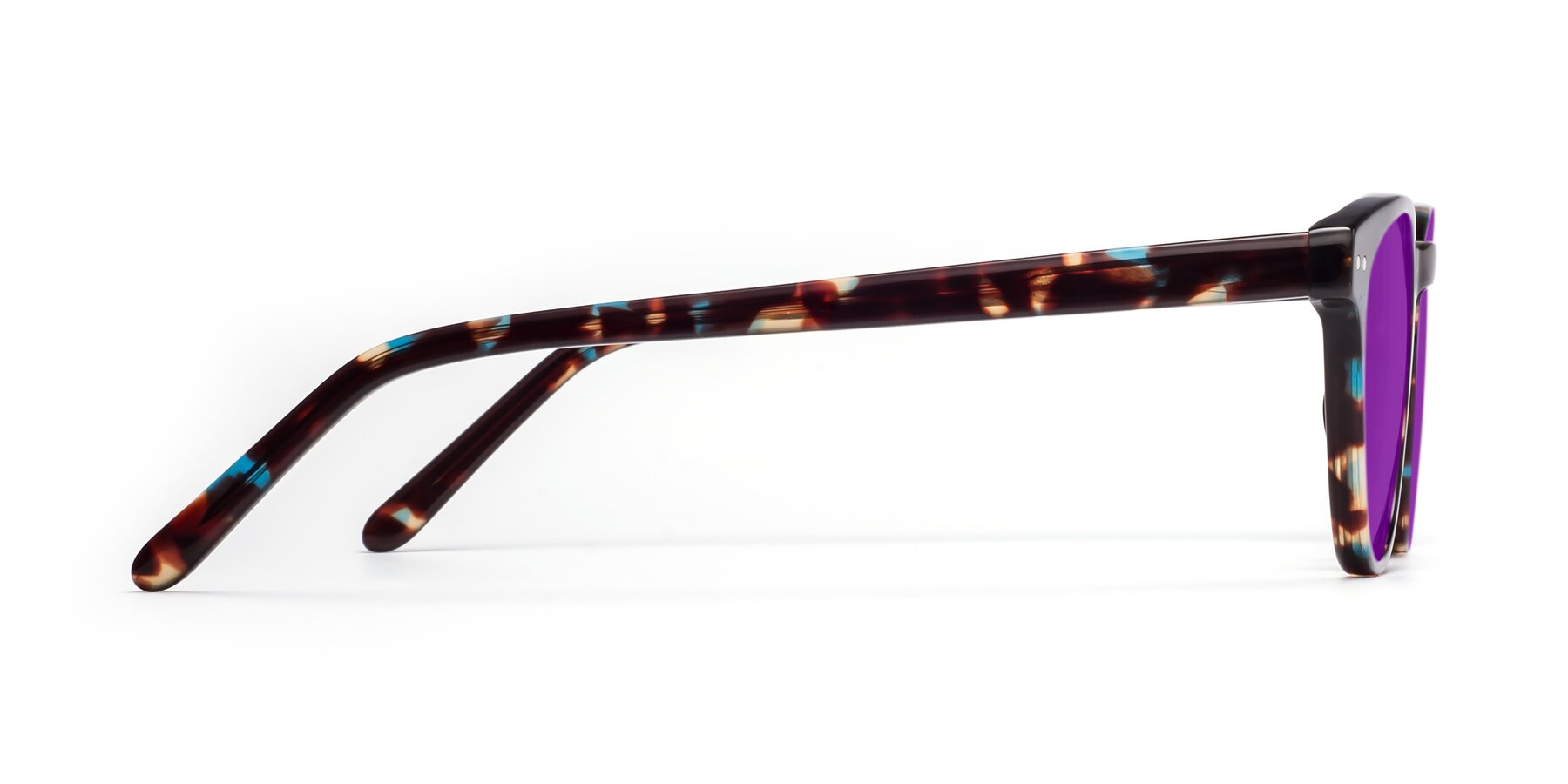 Side of Blaze in Tortoise-Blue with Purple Tinted Lenses