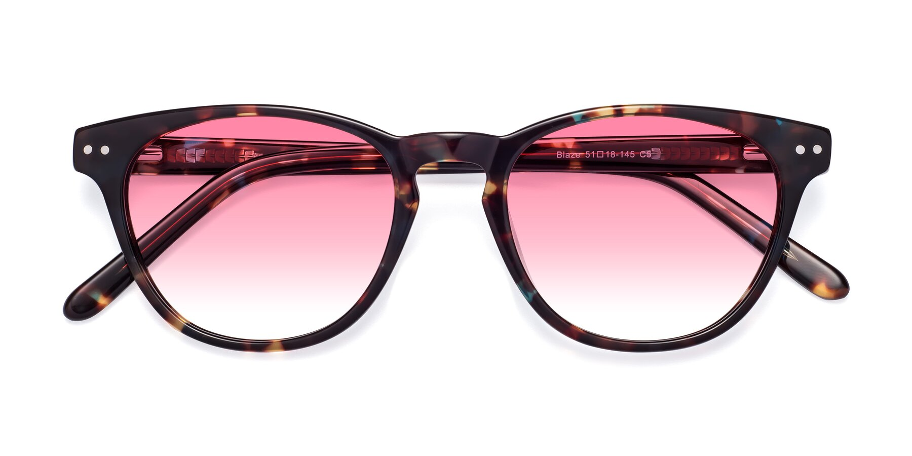 Folded Front of Blaze in Tortoise-Blue with Pink Gradient Lenses