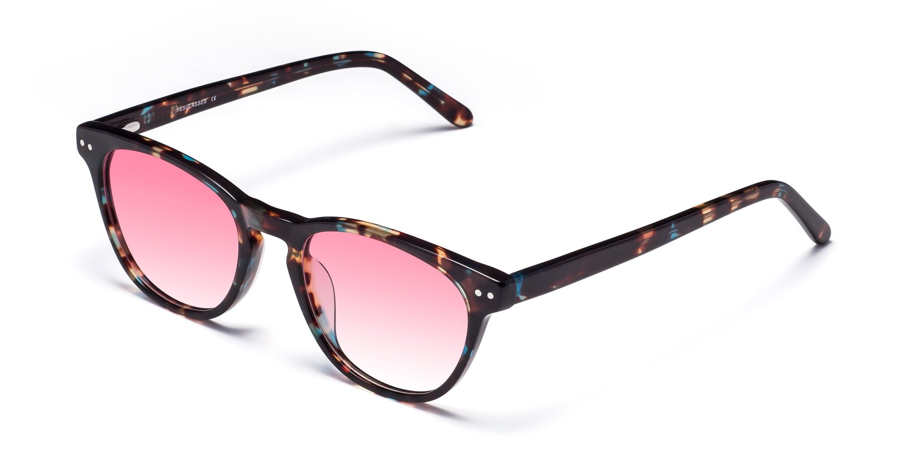 Angle of Blaze in Tortoise-Blue with Pink Gradient Lenses