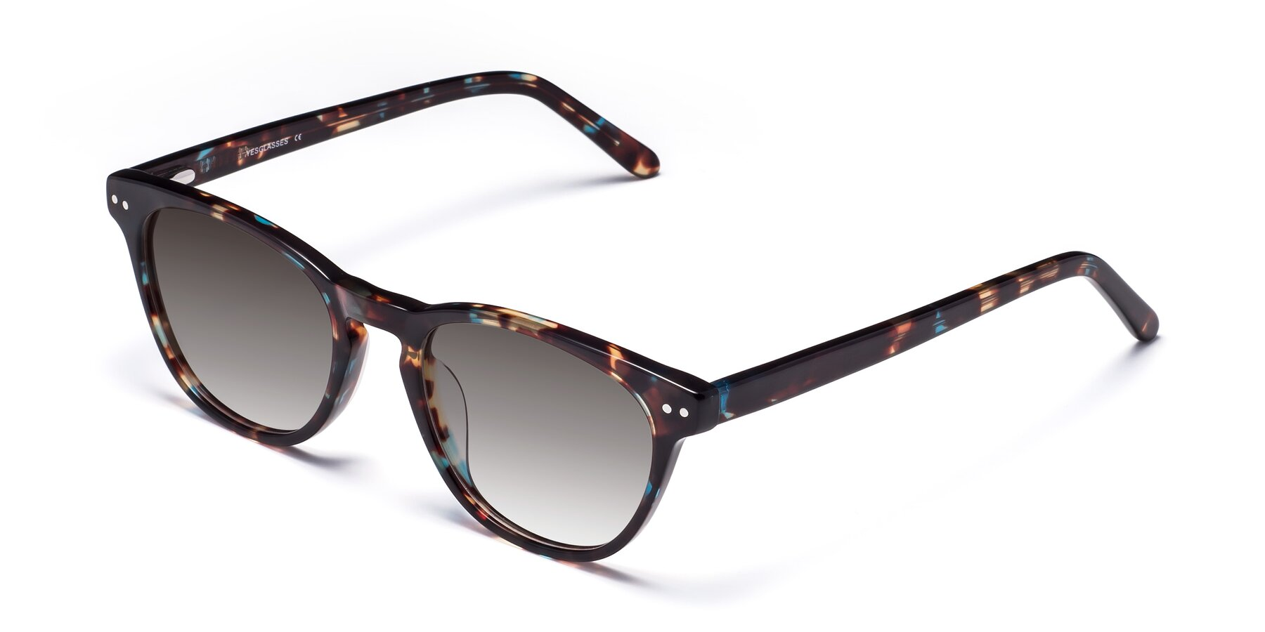Angle of Blaze in Tortoise-Blue with Gray Gradient Lenses